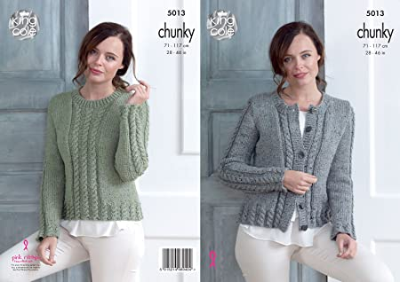 704bcdb896 image 0 Source · King Cole Ladies Chunky Knitting Pattern Womens Cabled  Cardigan
