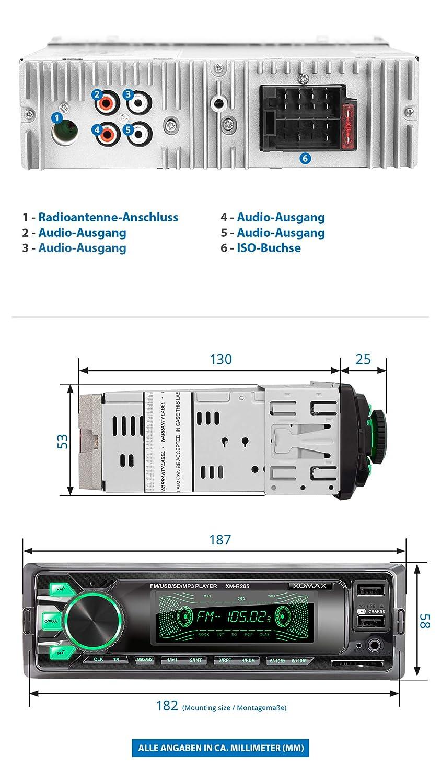 XOMAX XM-R266 Autoradio mit Bluetooth Freisprecheinrichtung I Smartphone Ladefunktion /über 2 USB Anschluss I Carbon Optik I 7 LED Farben einstellbar I USB SD AUX I 1 DIN MP3