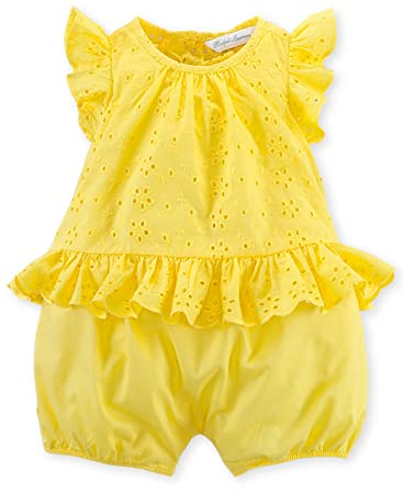 8e78ecc98 Image Unavailable. Image not available for. Color: Ralph Lauren Polo Baby  Girls Eyelet Bubble Romper