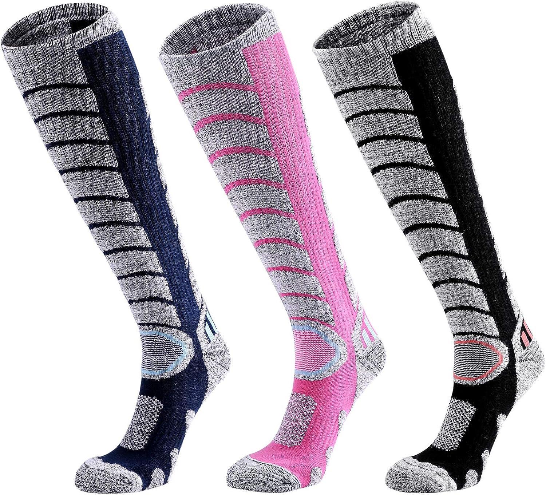 Ski Socks Women Men, 3 Pair Extra Thick Warm Snow Winter Skiing Socks Long Knee High Performance Snow Snowboarding Skiing Camping Hiking Socks for Women Men