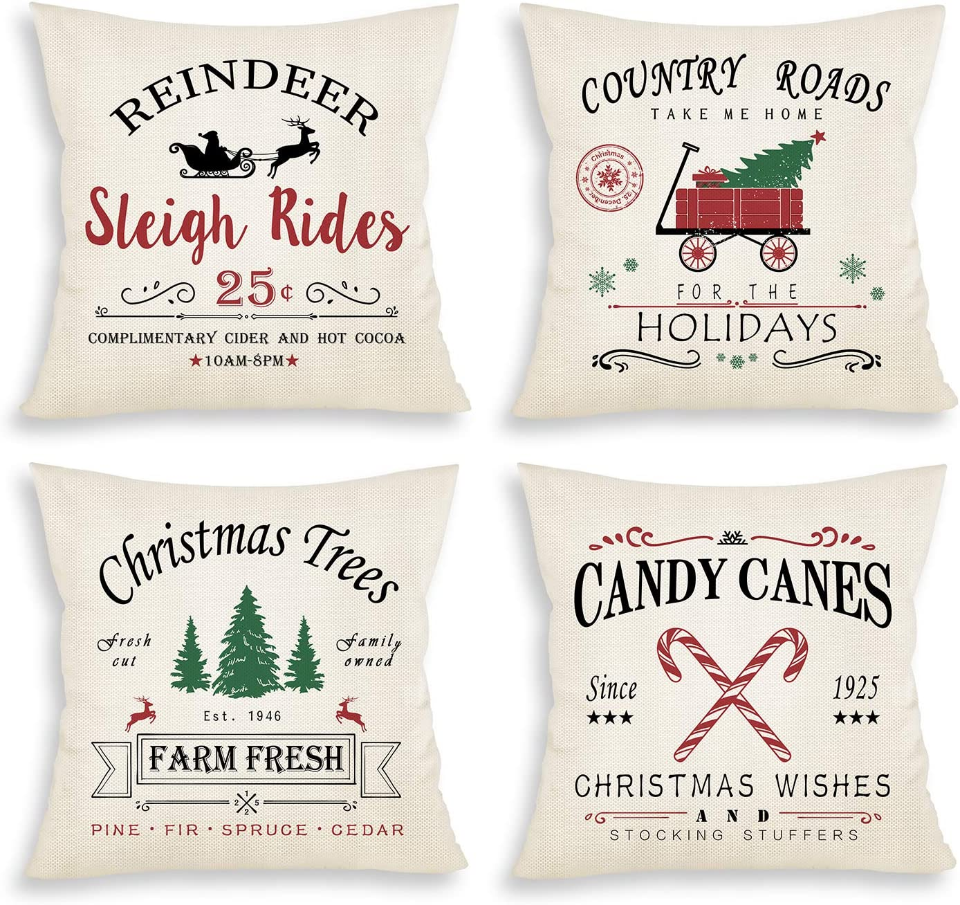 Sionoiur Christmas Decorations Throw Pillow Covers 18x18 Set of 4, Christmas Tree Truck Winter Holiday Throw Pillows Farmhouse Xmas Decor for Home Square Cotton Linen Cushion Cases for Sofa Couch