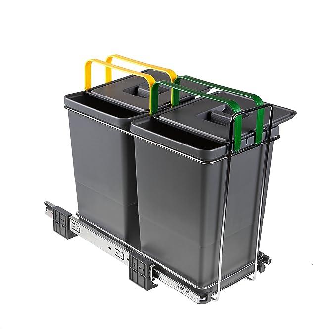ELLETIPI ecofil PF01 34 A2 Papelera Reciclaje extraíble para Base, plástico y Metal, Gris, 23 x 45 x 36 cm: Amazon.es: Hogar