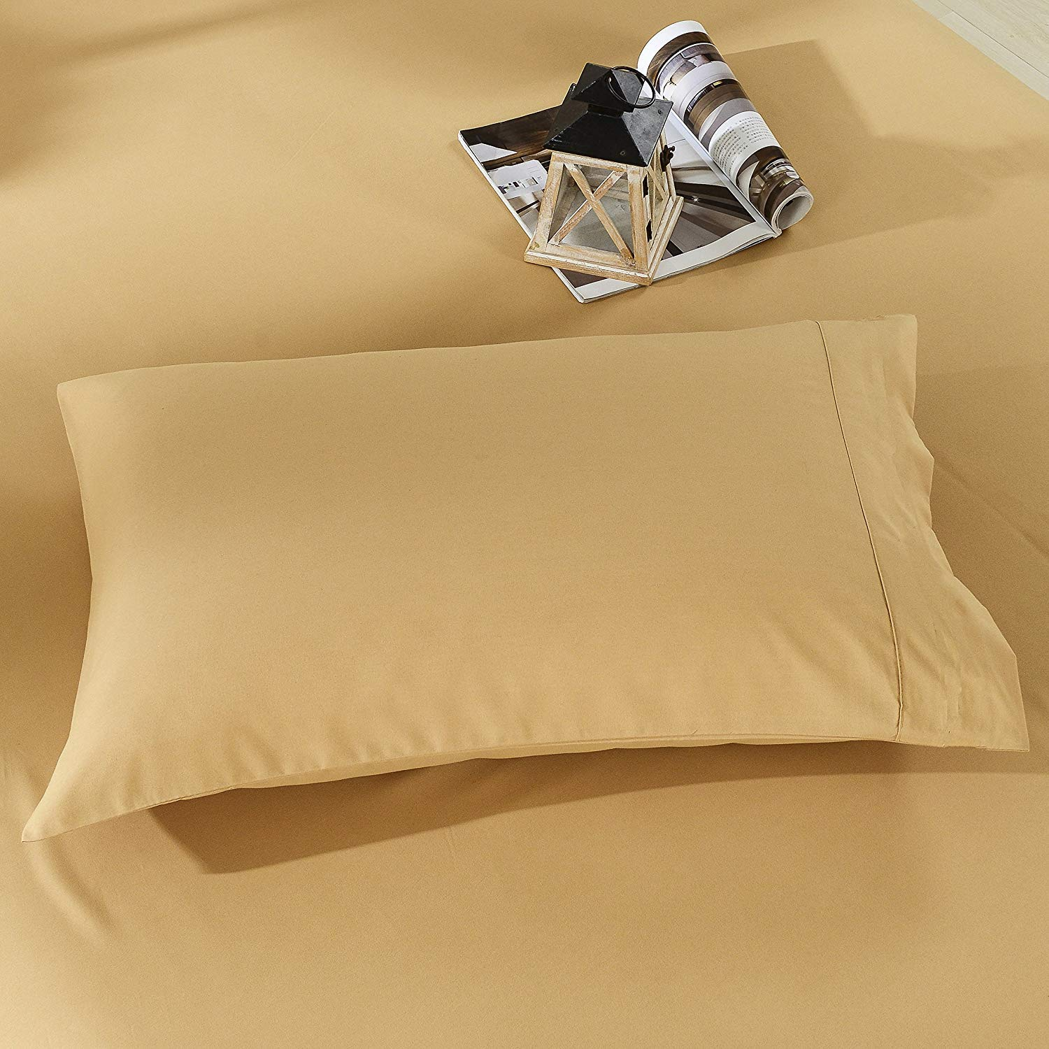 VGI Linen Authentic Heavy Quality Hotel Collection 100% Egyptian Cotton- Super Soft 1500 Thread Count 2-PCs Pillow Cases Solid Style Available in Many Sizes & Color's (King, Gold)