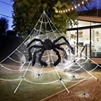 UNGLINGA Giant Yard Halloween Decorations Outdoor Scary Decor Triangular Mega Spider Web 23 x 17 ft with 36inch Large Spider and Stretch Cobweb Set Party Supplies Favor