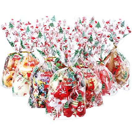 Hestya 50 Counts 15 X 25 Cm Christmas Pattern Flat Cellophane Treat Bags Clear Cellophane Block Bottom Storage Bags Sweet Party Home Bags With