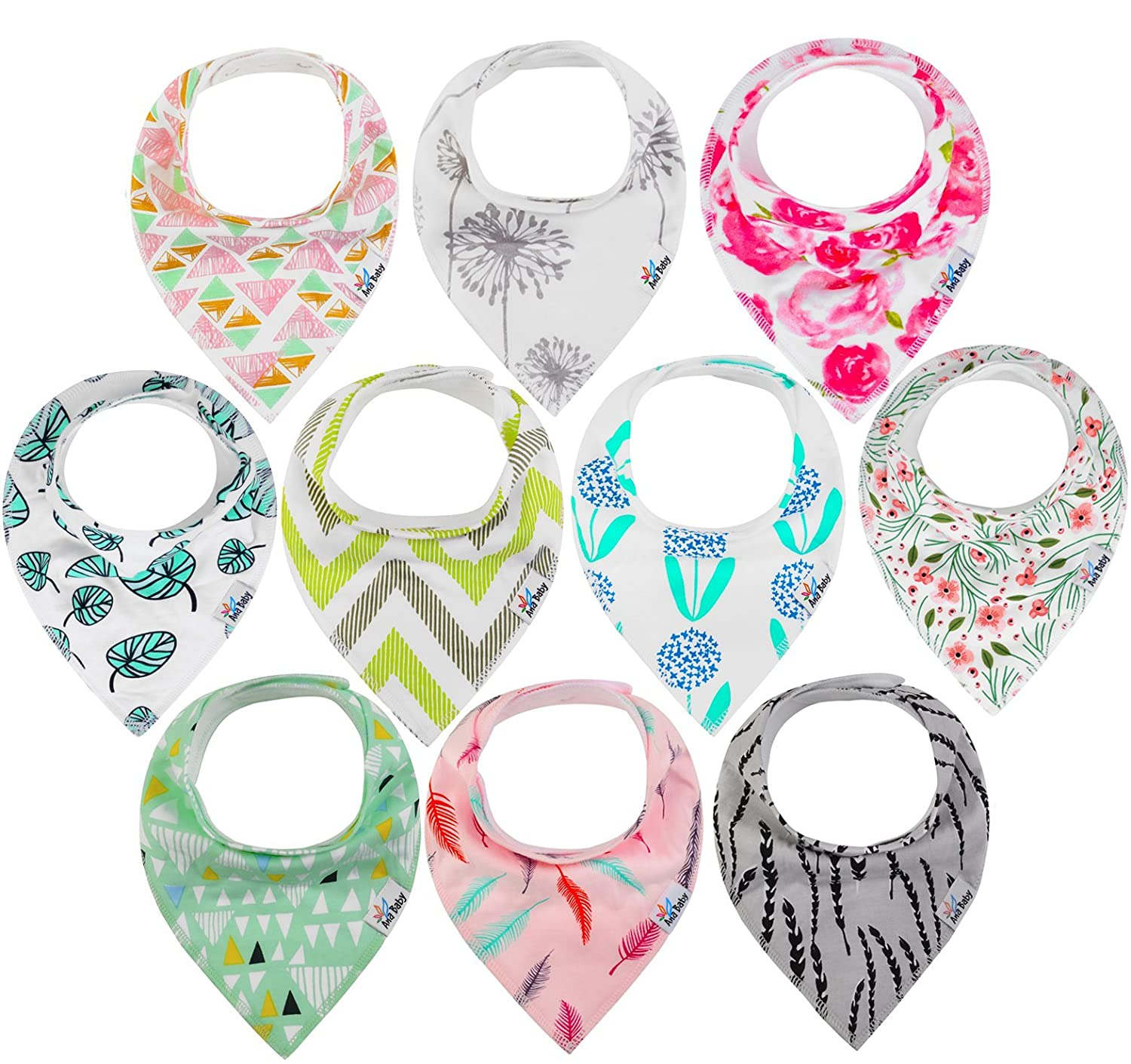 10-Pack Baby Bandana Drool Bibs for Drooling and Teething, 100% Organic Cotton, Soft and Absorbent, Hypoallergenic Bibs for Baby Girls - Baby Shower Gift Set by Ana Baby Ana Premiums