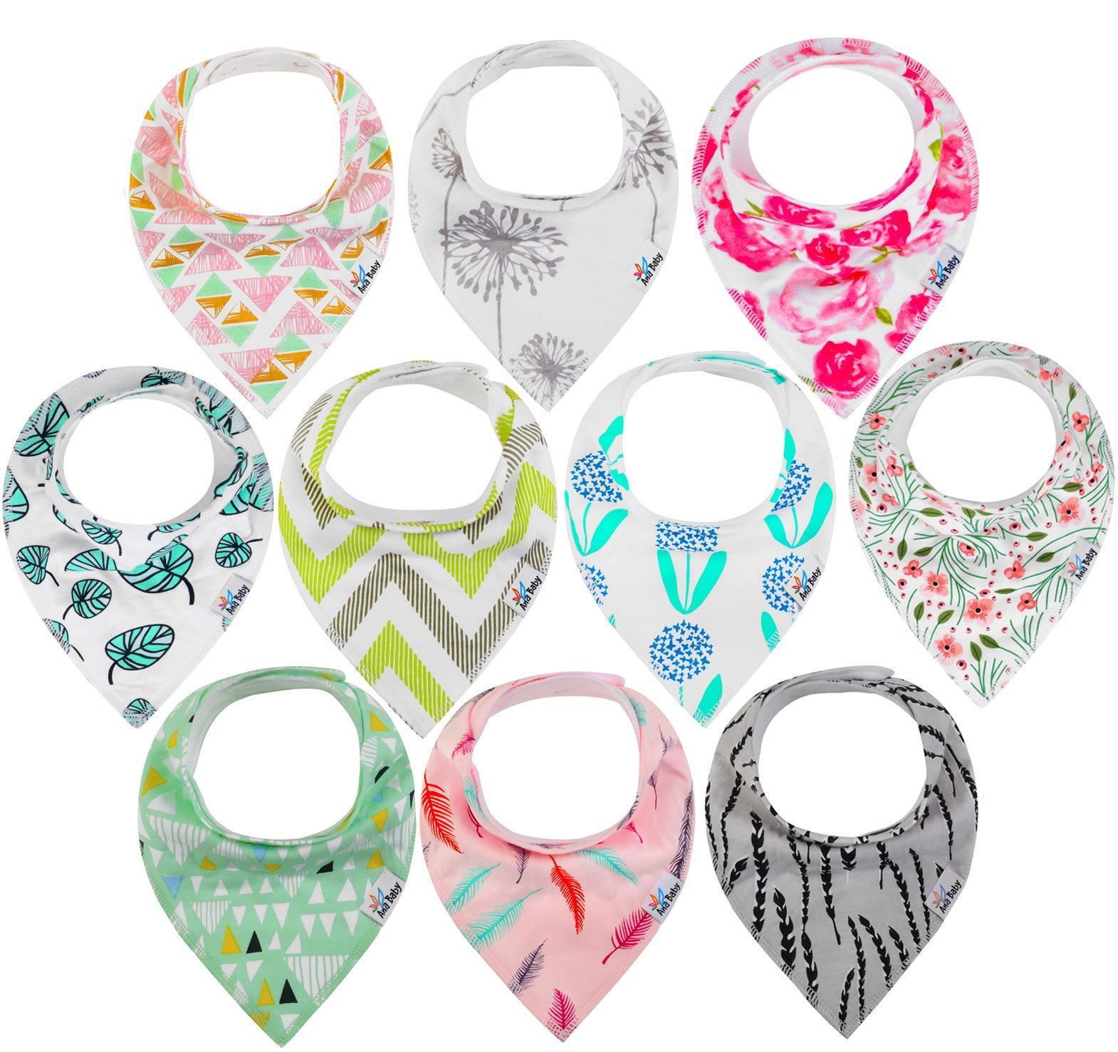 10-Pack Baby Bandana Drool Bibs for Drooling and Teething, 100% Organic Cotton, Soft and Absorbent, Hypoallergenic Bibs for Baby Girls - Baby Shower Gift Set by Ana Baby …