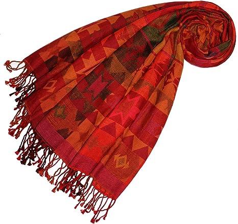 LORENZO CANA - Pashmina - Étnica - para mujer rojo Rot Orange Gelb Grün