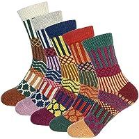 Warm Crew Wool Socks Womens Winter Hand Knit Thick Soft Thermal Girls Socks 5 Pairs