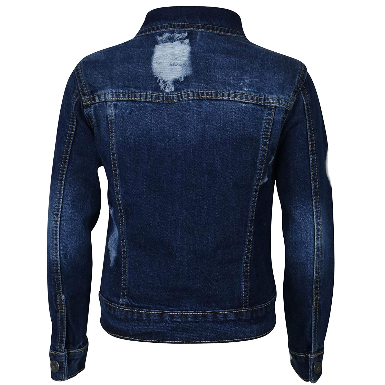 Kids Boys Denim Jackets Designer Dark Blue Ripped Jeans Fashion Coat Age 3-13 Yr