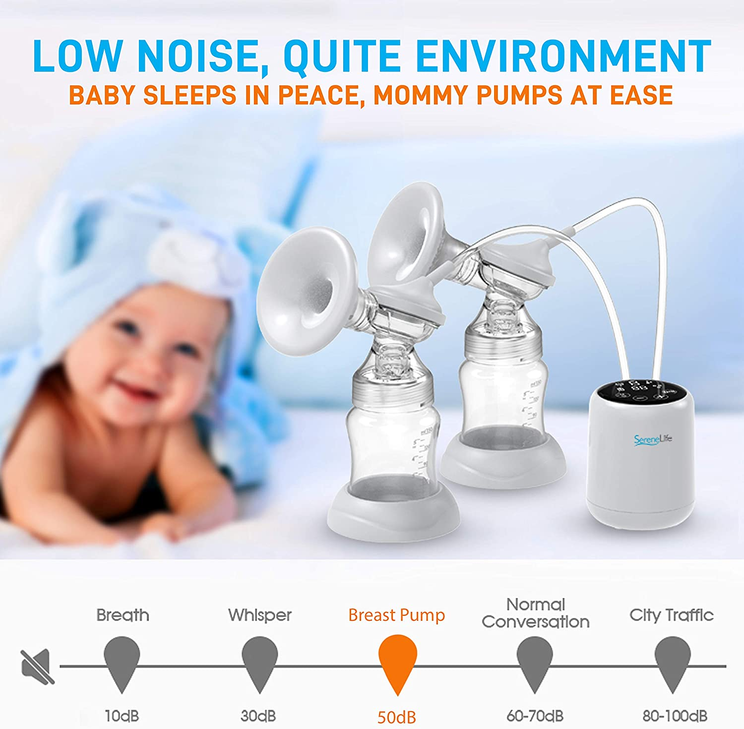 Silent Pain-Free Automatic Portable Breast Pump Machine w// 2-Phase Expression Technology LED Display Portable Double Electric Breast Pump BPA Free SereneLife SIBPX3 Anti-Backflow Design