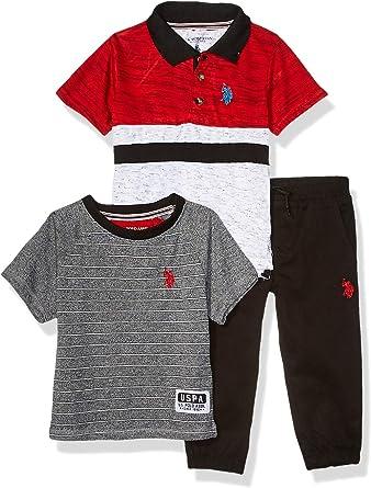 Boys Short Sleeve Henley T-Shirt Polo Assn and Twill Jogger Pant U.S