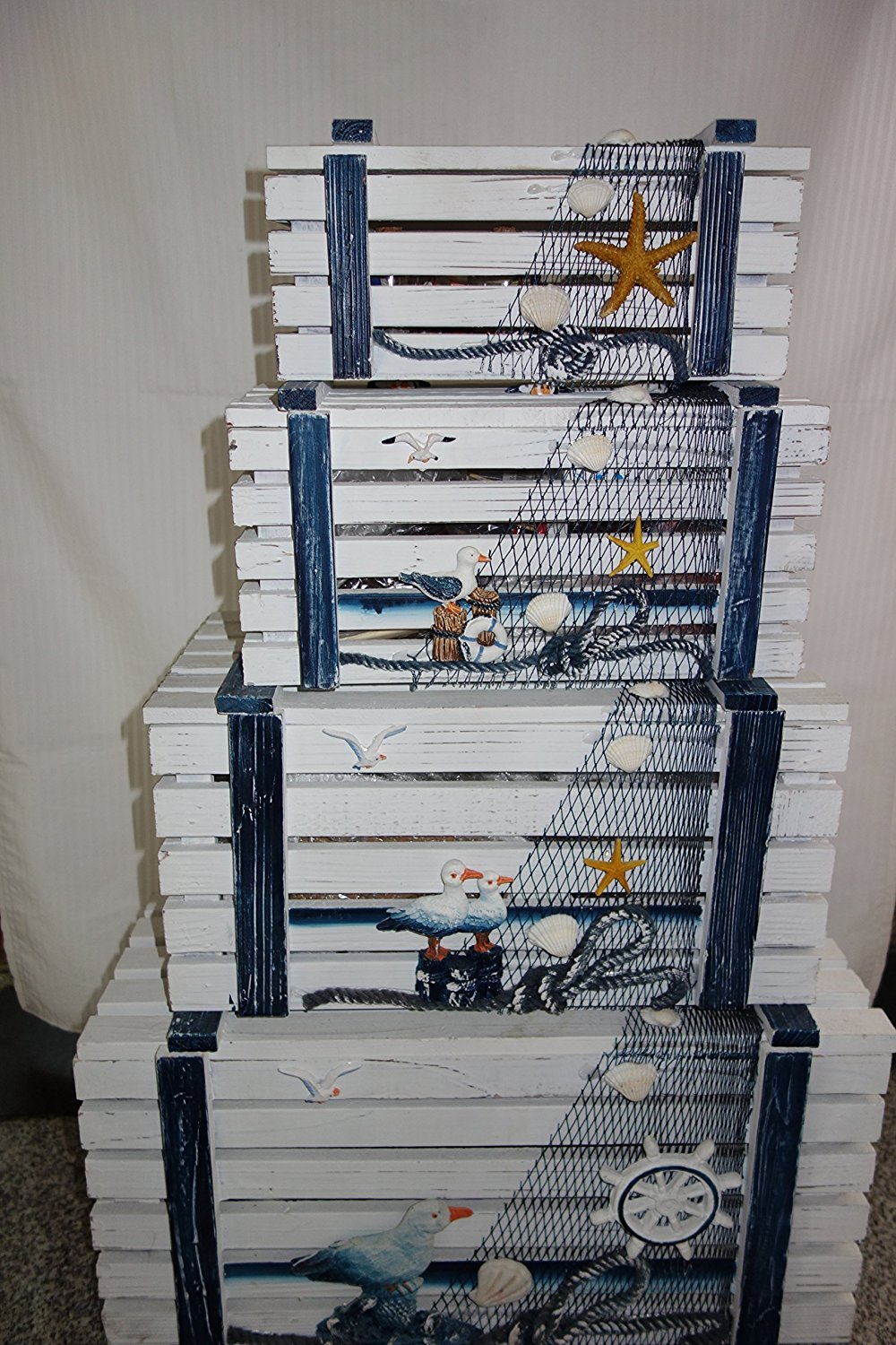Very cool looking nautical themed set 4 storage boxes, shabby chic,