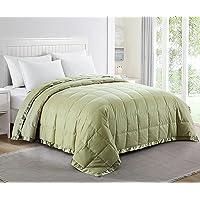 puredown® Lightweight Blanket for Bedding Satin Weave 100% Cotton, Green, 230x230cm