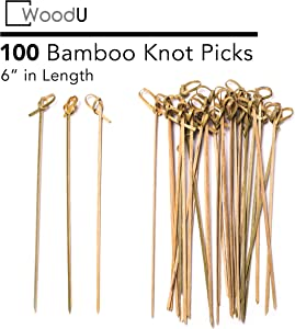 "Bamboo Knot Picks 100pc 6"" Cocktail Skewers Eco friendly Biodegradable"
