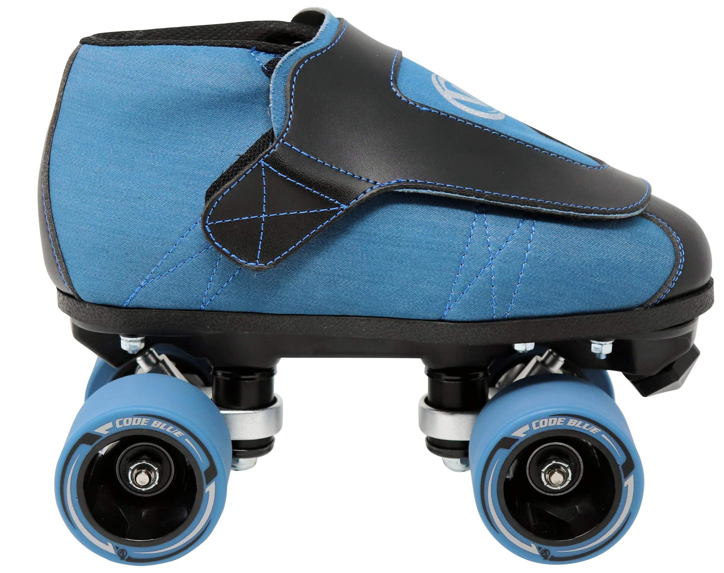 VNLA Code Blue Jam Skate - Mens & Womens Speed Skates - Quad Skates for Women & Men - Adjustable Roller Skate/Rollerskates - Outdoor & Indoor Adult Quad Skate - Kid/Kids Roller Skates (Size 4) by VNLA (Image #2)