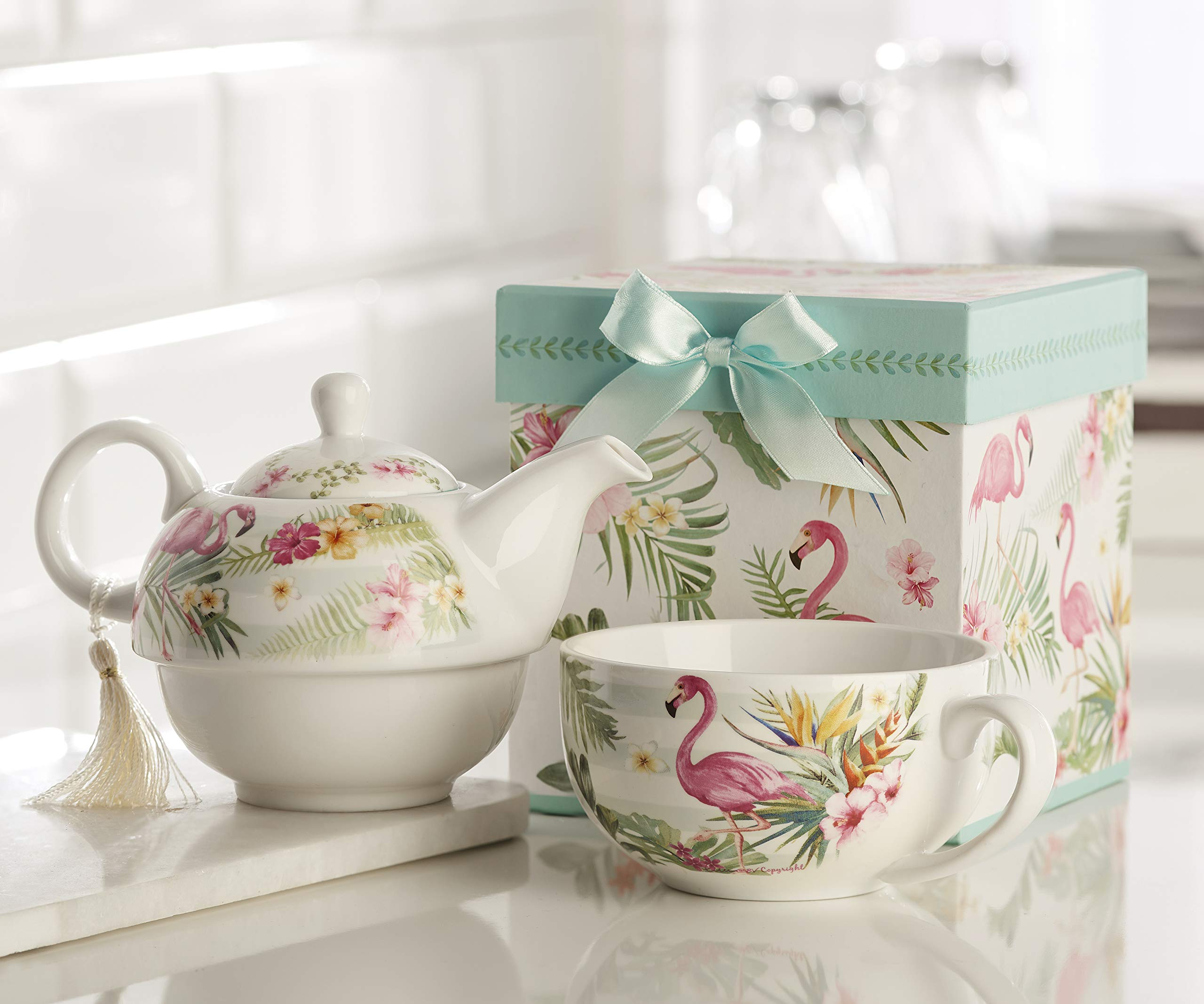 Giftcraft Bone China Tea Set for One in Gift Box, Flamingo Design by Giftcraft (Image #3)