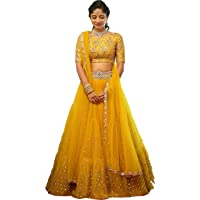 Stylevilla Collection Women's Silk Sequence and Embroidary Semi Stitched Lehenga Choli (Zel-STY-06, Multicolour, Free Size)