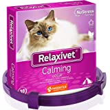 Relaxivet Calming Collar for Cats   Improved DE-Stress Formula   Reduces Anxiety During Travel, Fireworks, Thunder, Vet Visit