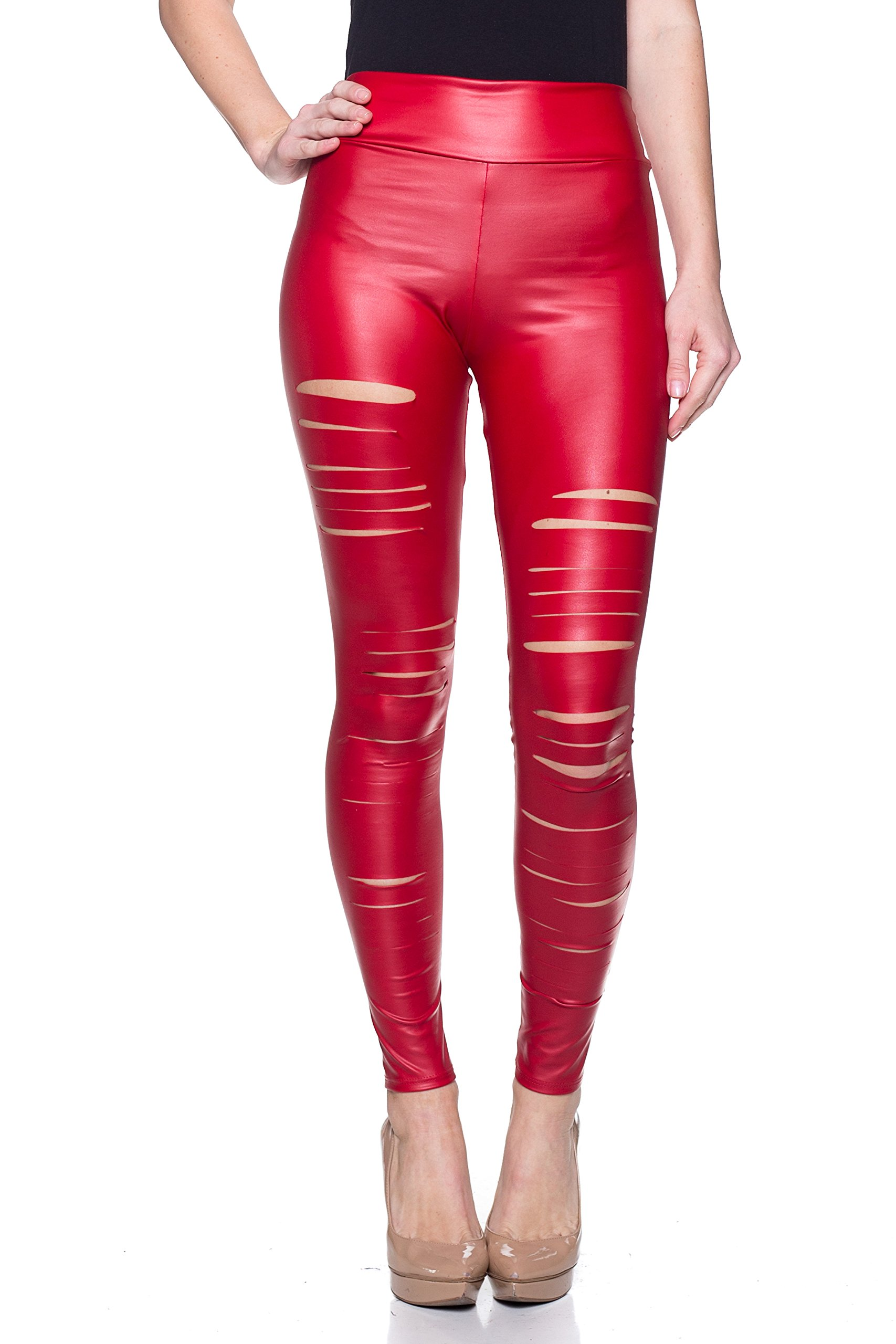 J2 LOVE Women's Junior Plus Faux Leather Ripped Legging, 1X, Red