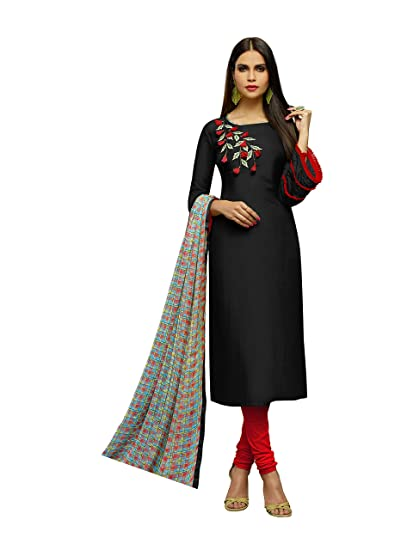 fe904feafa Abeer Designer Black Color Crepe Fabric Embroidered Kurta and Salwar Suit  Unstitched Dress Material With Dupatta For Women: Amazon.in: Clothing & ...