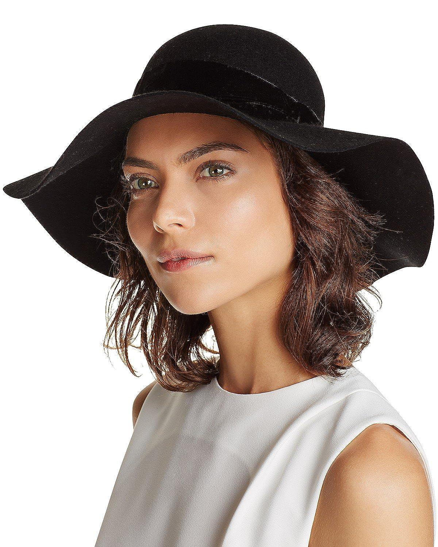 d7f070df3 Filippo Catarzi Women's Wool Velvet Band Floppy Hat Fedora, Black ...