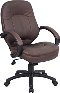 Boss Office Products LeatherPlus Executive Chair in Bomber Brown