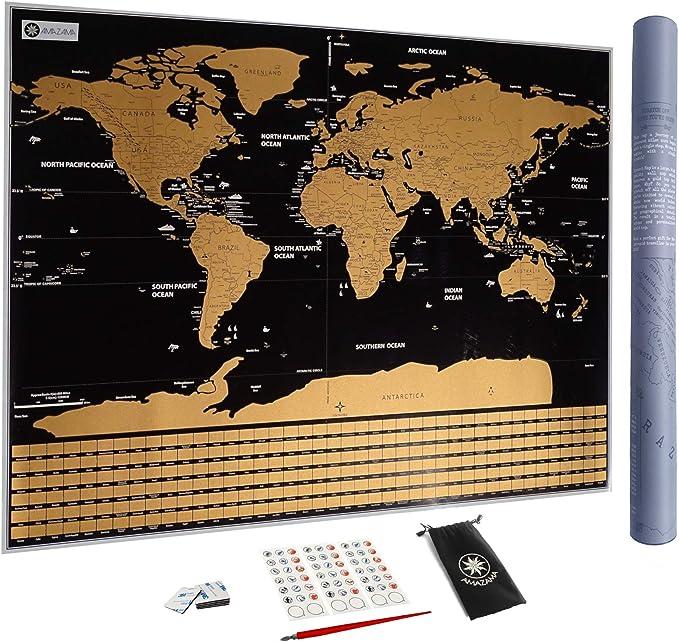 Mapa del Mundo para rascar con Banderas, XXL Póster - Regalo ideal para viajeros | Grande formato 82 x 59 cm - Calidad de impresión TOP y precisión cartográfica - Accesorios GRATIS: Amazon.es: Hogar
