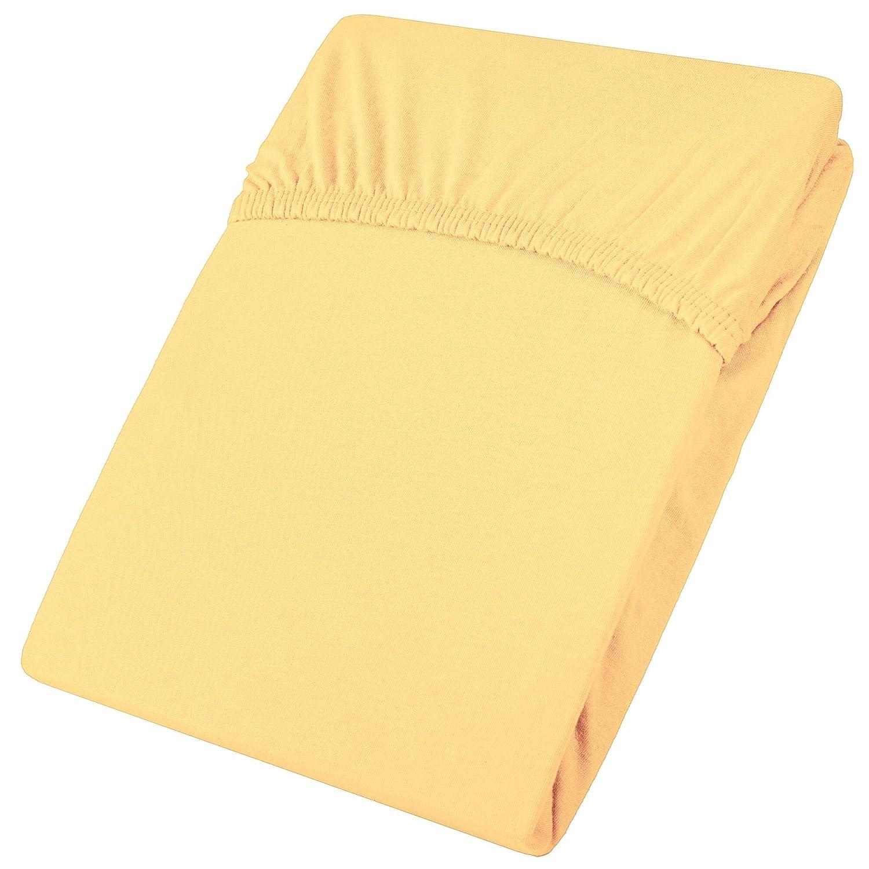 Spannbetttuch Spannbettlaken 140x200-160x200 Farbe gelb Biberna Jersey