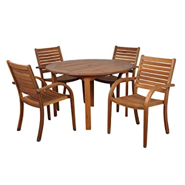 Amazonia Arizona 5 Piece Round Outdoor Dining Set |Super Quality Eucalyptus Wood| Durable and Ideal for Patio and Backyard, Light Brown