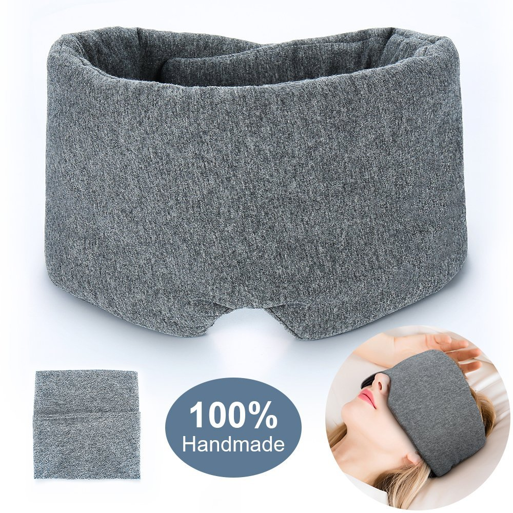 100% Handmade Cotton Sleep Mask Blackout - Comfortable & Breathable Eye Mask for Sleeping Adjustable Blinder Blindfold Airplane with Travel Pouch - Best Night Companion Eyeshade for Women Men Kid by FRESHME