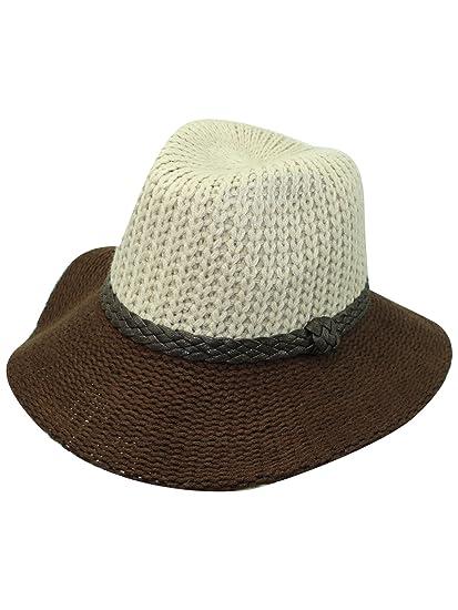 Luxury Divas Two-Tone Beige   Brown Knit Fedora Hat at Amazon ... 8c8754c9c66