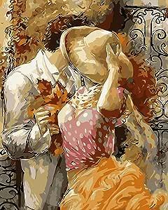 Pack de 3 cepillos 24 pinturas, Romance y Pasión de corazones Hot Kiss, DIY pintura al óleo principiante pintura por número kits de arte pintura Canva Juego de pintura y pincel para