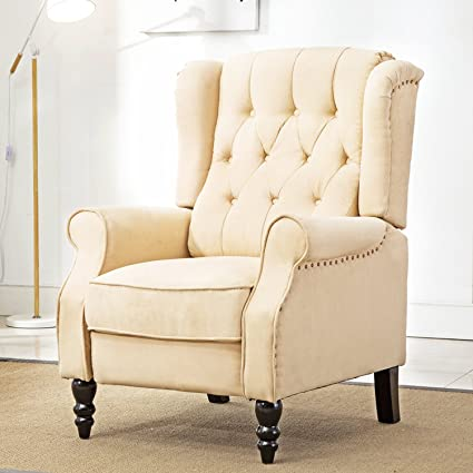 ComHoma Tufted Wingback Recliner Classic Armchair Elizabeth Queen Style  Fabric Club Chair Beige