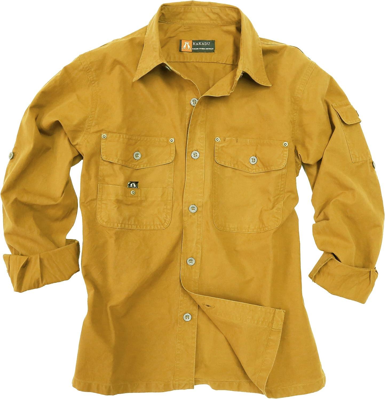 Outdoor de Safari de algodón camisa de Señor de ligero, manga larga camiseta de hasta 5 X l disponible, hombre, color mostaza, tamaño xx-large: Amazon.es: Deportes y aire libre