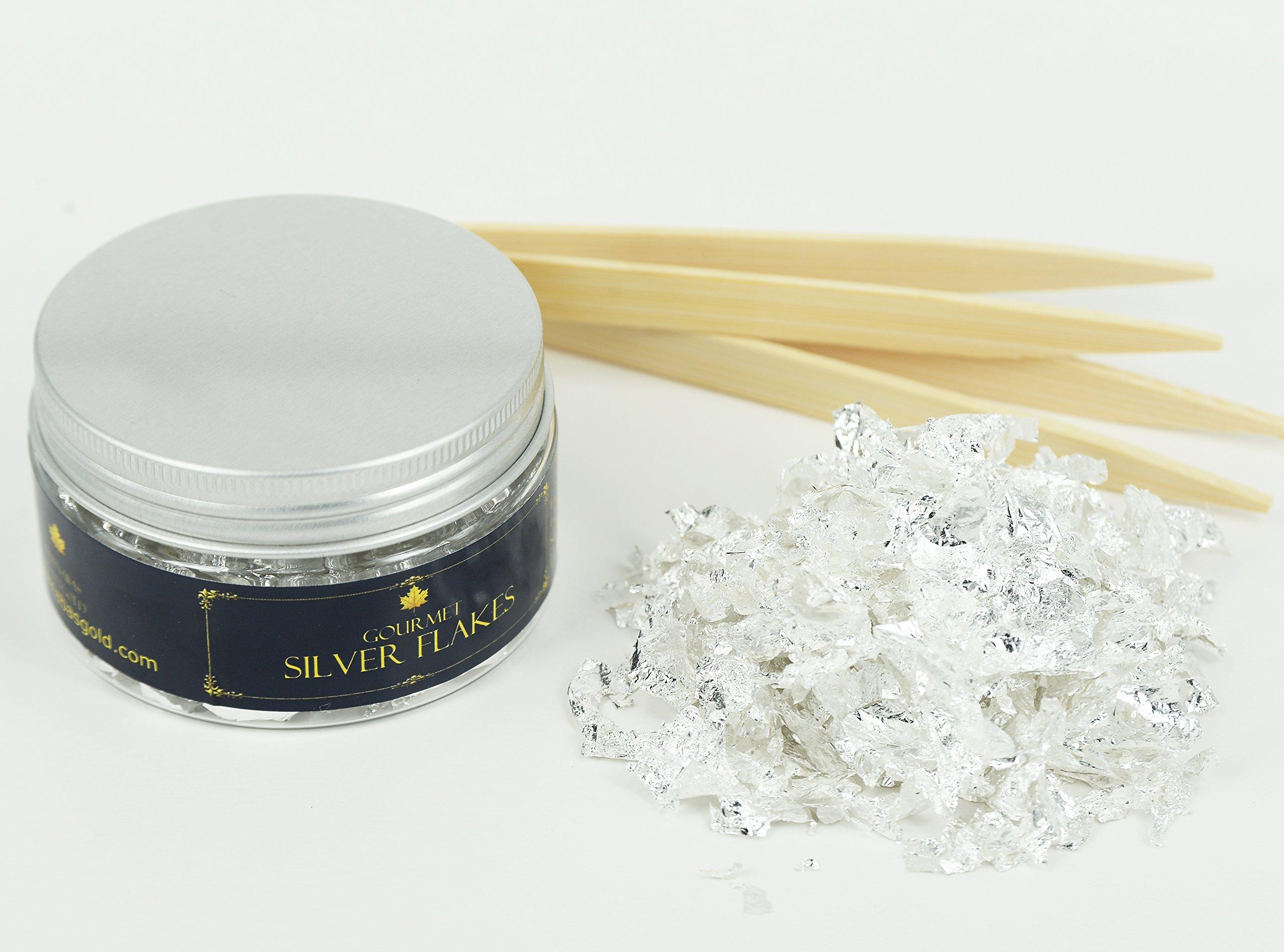 Edible Genuine Silver Leaf Flakes - by Barnabas Blattgold - 350mg Jar