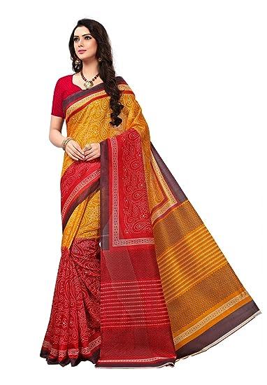 ef427811e7 Salwar Studio Women's Mustard & Red Bhagalpuri Silk Printed Saree with  Blouse Piece(OM-0037100_Gold_Free Size): Amazon.in: Clothing & Accessories
