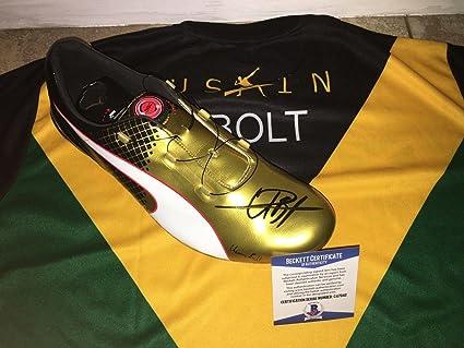 e4594f7267492 Usain Bolt Signed Official Puma Gold Cleat Bolt Model Shoe Fastest ...