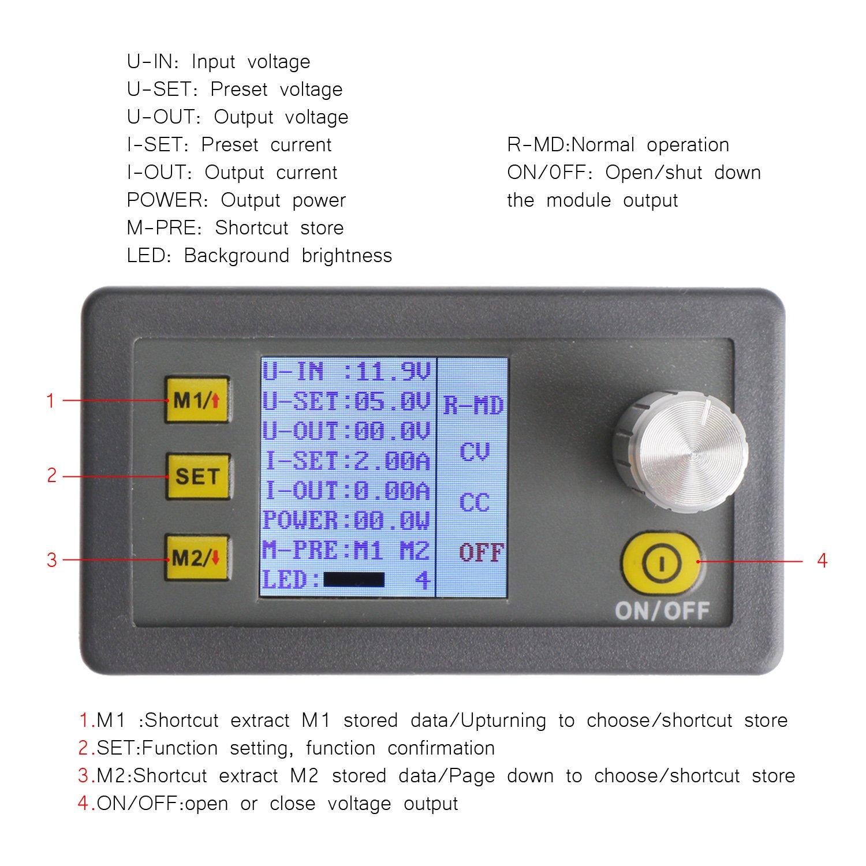 Constant Current Buck Converter Drok Numerical Control Voltage Dc Supply Adjustable 0 20v At 1a Regulator 45 23v 12v To 9v 5v 2a Step Down Transformer Module Volt Stabilized