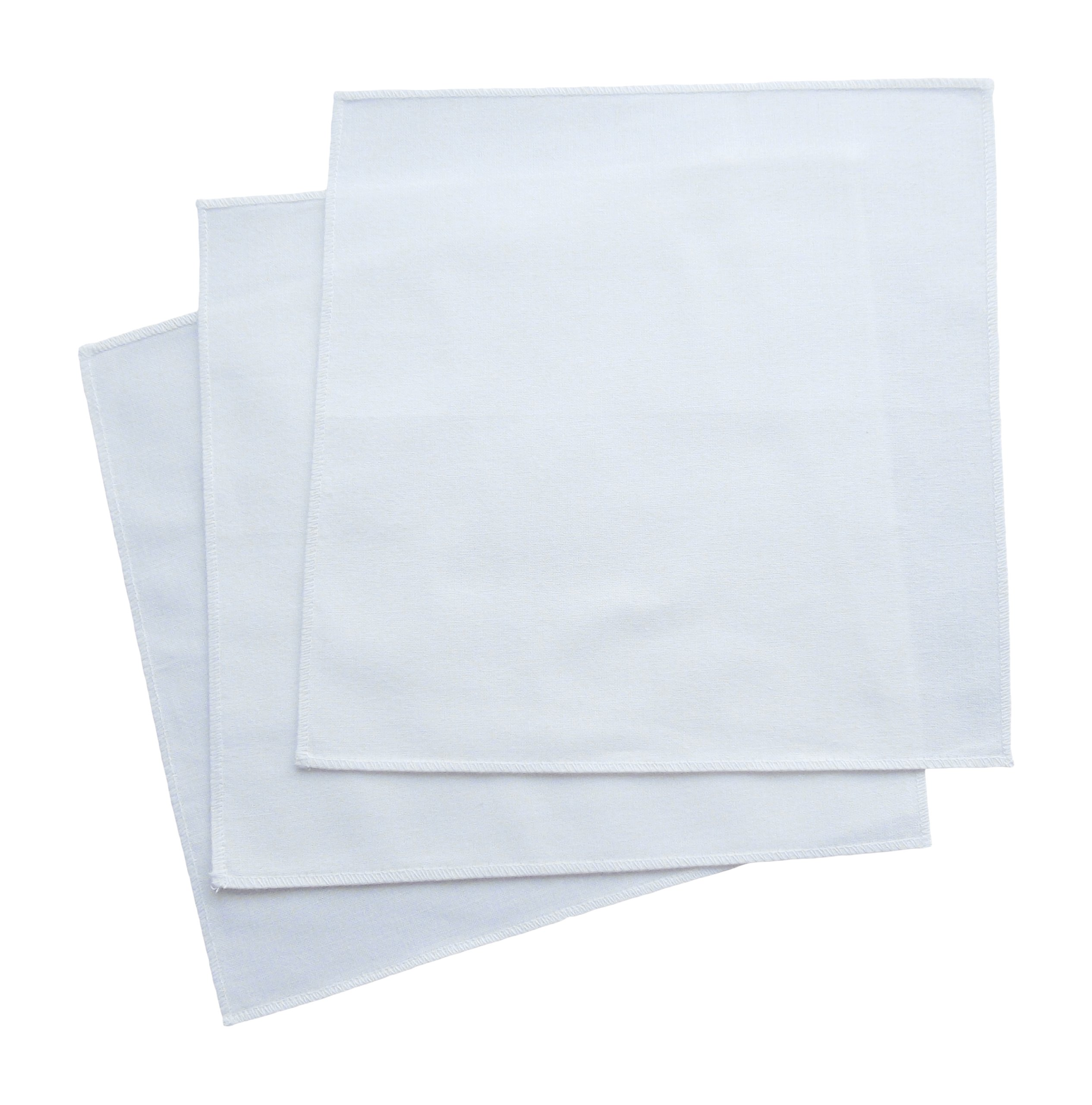 "Organic Handkerchiefs Womens Cotton Set - 8"" small white hankies 3 pk Made in US by The Organic Handkerchiefs Company (Image #1)"