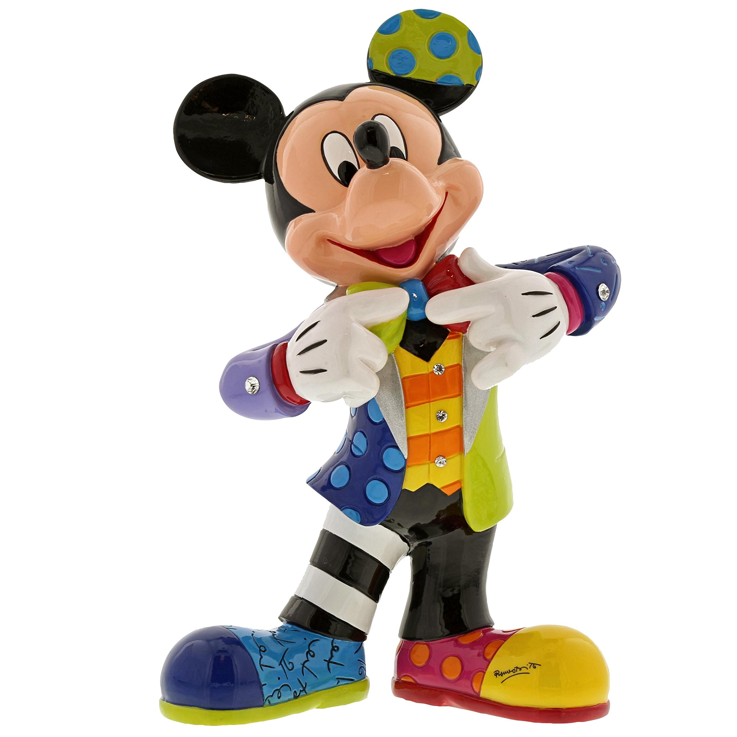 Enesco Disney by Britto Mickey Mouse with Bling 90th Celebration, 10.5'' Stone Resin Figurine, Multicolor