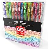 Arteza Gel Pens 60-Individual-Colors Acid-Free & Non-Toxic (0.8-1.0 mm Tips, Set of 60)