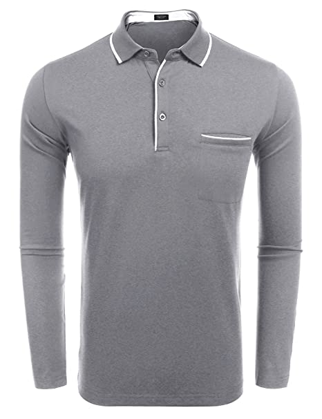 8804f013d5b5 COOFANDY Men's Long Sleeve Polo Shirt Classic Casual Business Slim Fit  Cotton Polo T Shirts Grey