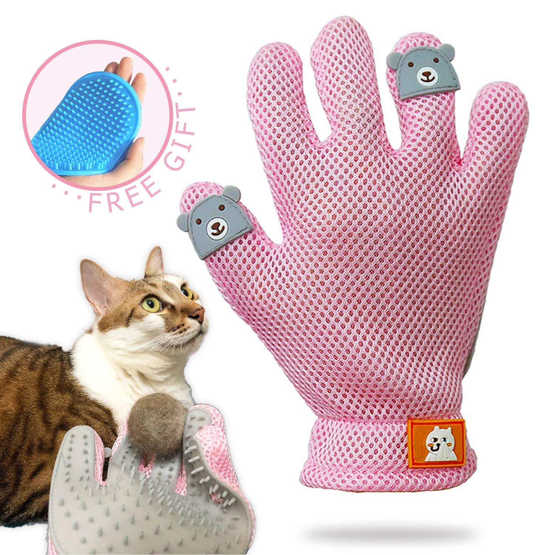FURBB Pet Grooming Glove - Cat Dog Gentle Deshedding Brush Glove - Efficient Pet Hair Remover Massage Mitt - Enhanced Five Finger Design Perfect for Long Short Fur, Right Hand Pet Bathing