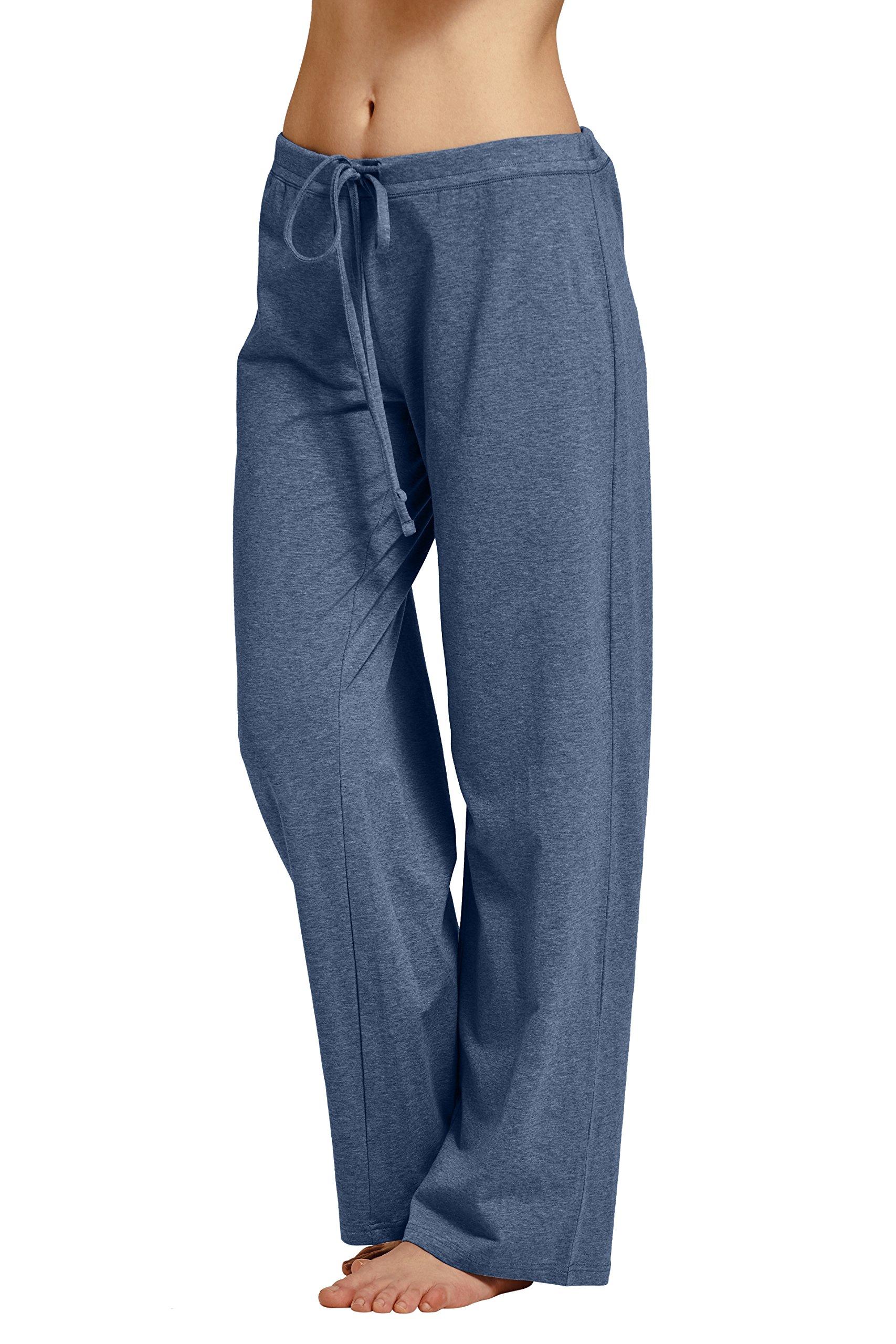 CYZ Women's Basic Stretch Cotton Knit Pajama Sleep Lounge Pan-DarkBlueMelange-L