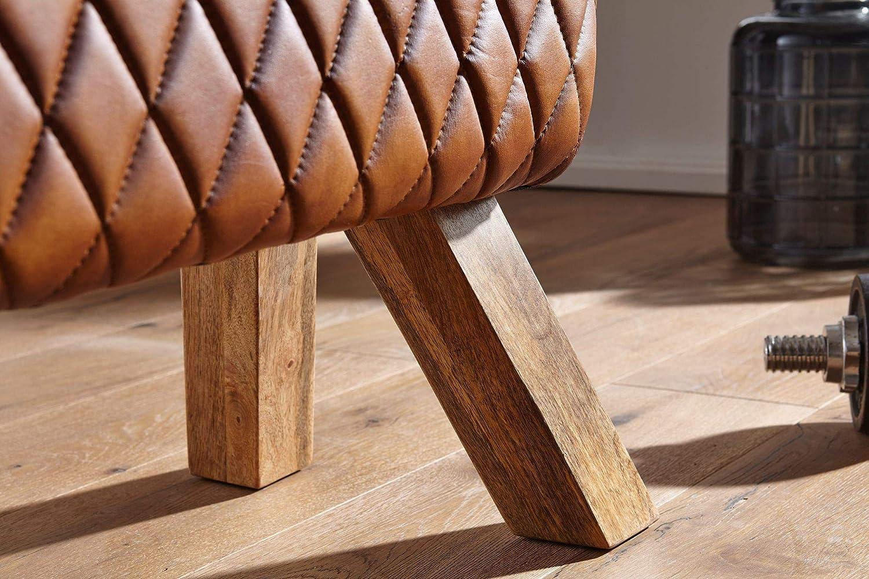 Sitzhocker; Ma/ße B//T//H in cm: 89x35x46 Springbock BZW Turnbock Wohnnling Sitzbank aus Echtleder und Massivholz
