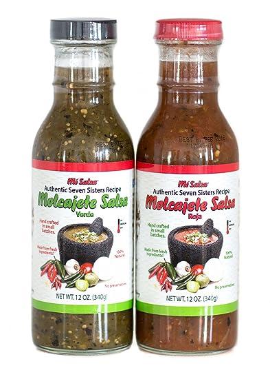 MeSalsa Authentic Seven Sisters Molcajete Salsa Roja and Verde (2 Rojas, 2 Verdes)