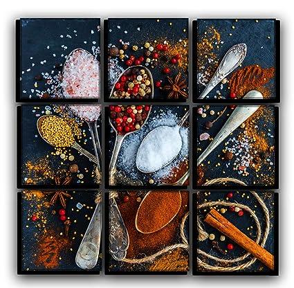 Amazoncom Big Set Spices And Pepper Kitchen Wall Art Decor