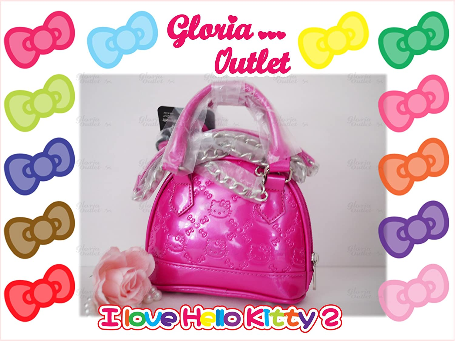 6d2a688ef Amazon.com   Hello Kitty Hand Bag Bright Rose shiny patent micro dome with  metal chain   Beauty