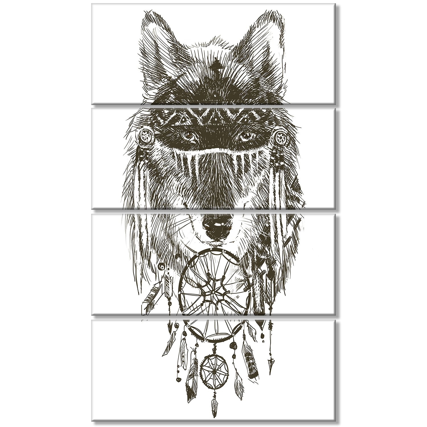 Designart Pt13247 401v Funny Indian Wolf Warrior Watercolor Contemporary Animal Art Canvas 28x60 Black Amazon In Electronics